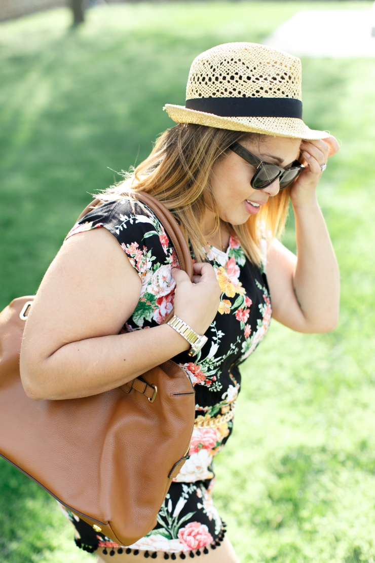 Floral Romper with Fedora