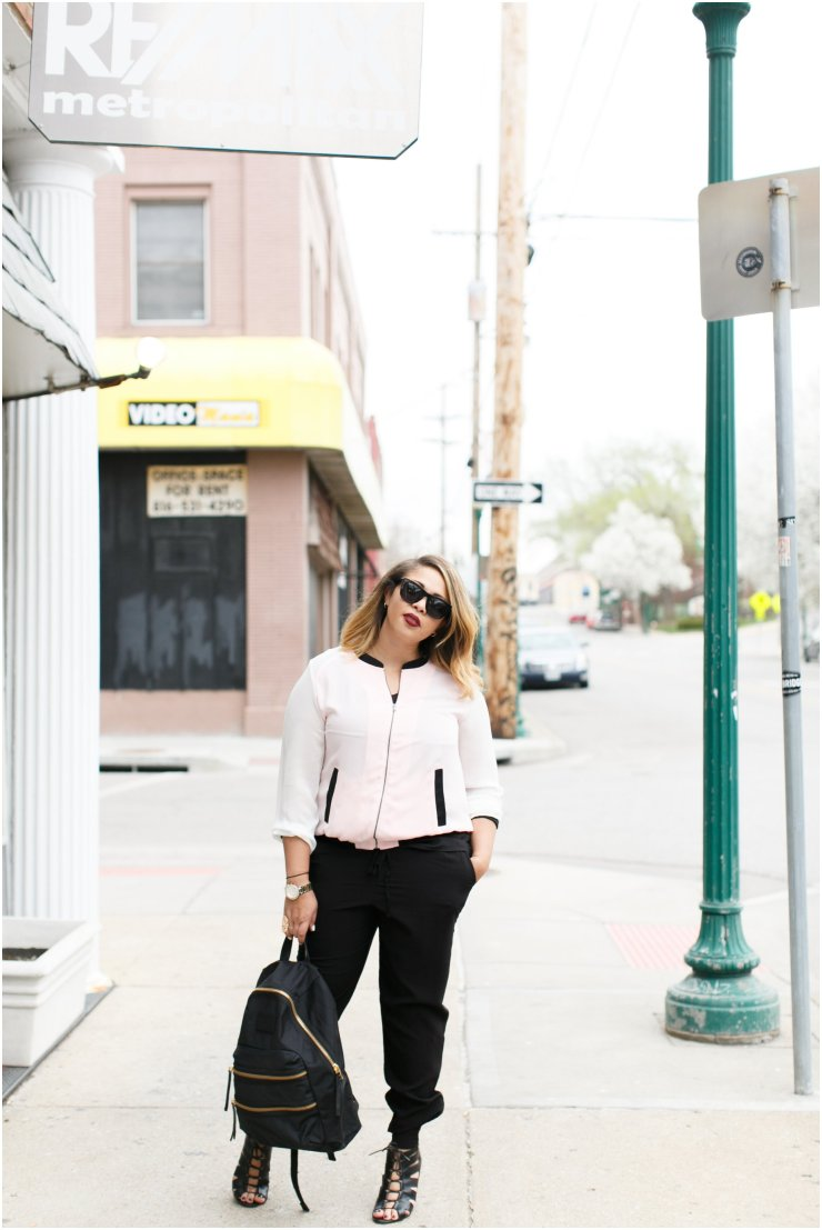 Sporty Bomber Jacket with black Harem pants