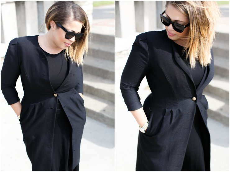 High Low Black dress outfit | Thifted dresscoat and dress with Tory Burch Sandals