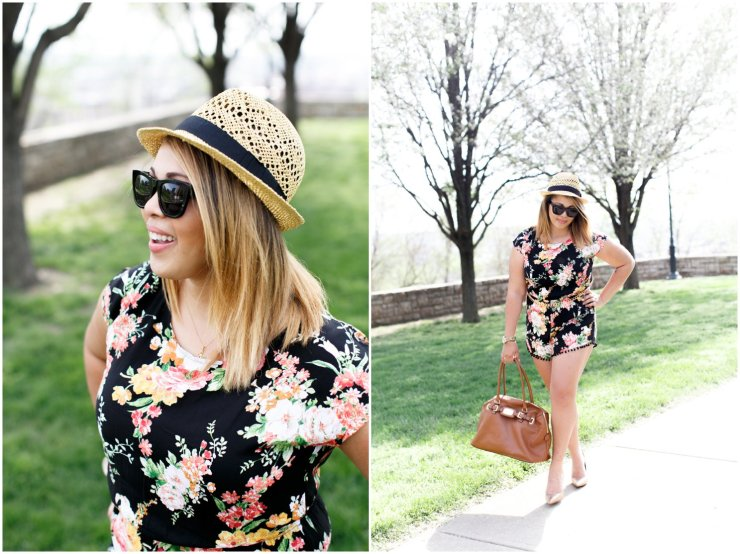 Floral Romper with straw fedora