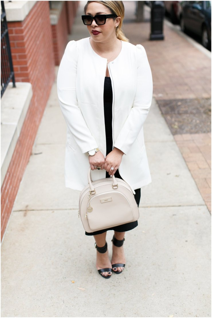 The Haute Girl| long white jacket by H&M with DNKY structured bag