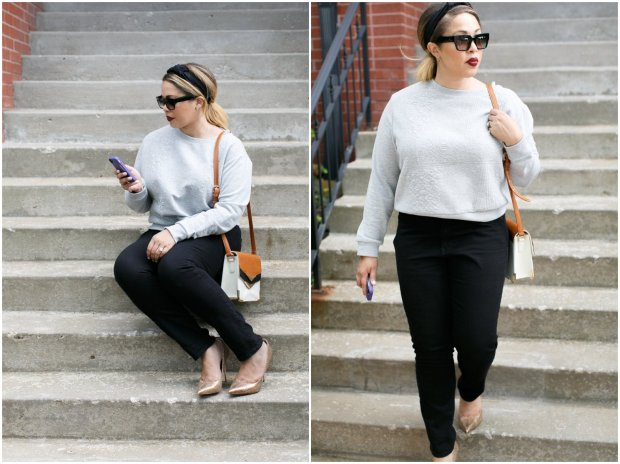The Haute Girl | Geometric Sweatshirt by H&M , black Gap Jeans and Gold Pumps